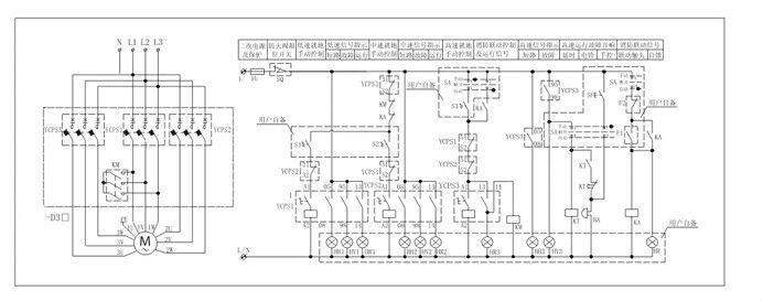 ZHCPS-D双速、三速电机控制与保护开关 一、ZHCPS-D双速电动机控制与保护开关 1、功能特点概述 以ZHCPS控制与保护开关电器为主开关,与接触器等附件组合,构成双速电动机控制器QSCPS-D,适用于双速电动机的控制与保护。 双速电动机控制器配置有三种: 配置一(标准配置):ZHCPS-D,高速为消防型,低速为标准型 配置二:ZHCPS-D1,高、低速均为标准型 配置三:ZHCPS-D2,高、低速均为消防型 产品特点、主回路参数及附件同ZHCPS标准型或ZHCPS-B消防型 2、产品控制原理说